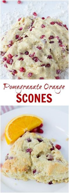 Low Carb Meals Buttery, soft and sweet Pomegranate Orange Scones with winter flavors. - Buttery, soft and sweet Pomegranate Orange Scones with winter flavors. Orange Scones, Fruit Scones, Vegan Scones, Cheese Scones, Weight Watcher Desserts, Köstliche Desserts, Dessert Recipes, Dessert Food, Crack Crackers