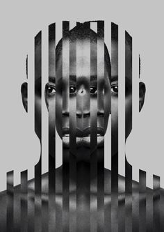 Two images of one face combined! Black and white