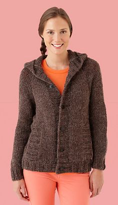 Ravelry: Hooded Cardigan #L10154 pattern by Lion Brand Yarn