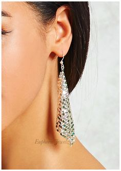 """Item #: DC-FCDE-S-202, DC-FCDE-G-202    *DAINTY COLLECTION*    Lovely chainmail design for an elegantlook and a brilliant sparkle.    DETAILS & CARE      Approximately 31/2"""" drop  Push back closure.  Sterling Silver.  14k Gold.  Handcrafted exclusively by EuphoricJewelz.  Designed and made in the USA of imported materials.      CARE & CLEANING YOURITEM      Put Jewelry On After Applying Makeup– Cosmetics, hairspray, perfumes and lotion can contain chemicals that can often…"""