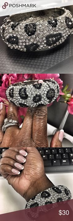 "😍 Betsy Johnson ""Animal Bling"" Bracelet 😍 Beautiful Betsy Johnson Leopard Print Bling Cuff 😍 Gently worn. In excellent condition with all stones in tact. Looking for a statement piece? Look no further ☝🏾️✅ Make this ☝🏾️treasure yours today ☺️. Don't be scared to make an offer, you never know unless you try. Bundle multiple items for the best savings. Pay one low price for shipping 🎁!   Thanks for stepping into Coco's Closet 😘 Betsey Johnson Jewelry Bracelets"