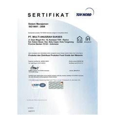 PT. Multi Anugrah Sukses. Sertifikat Sistem Management Mutu ISO9001