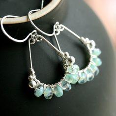 Handmade sterling silver hoops, Czech glass, beaded, seafoam green glass, wire wrapped, teardrop, Mimi Michele Jewelry. $42.50, via Etsy.