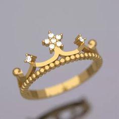 anel coroa de ouro  com diamantes 18k