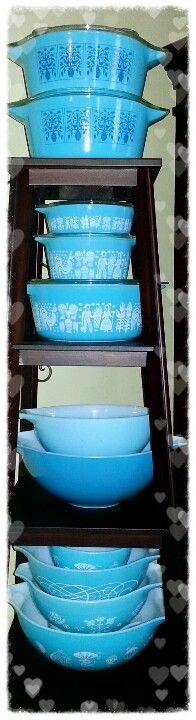 Tower of turquoise Pyrex.