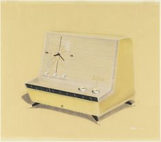 Drawing, Design for Musaphonic L-Shaped Clock Radio on Legs, in Yellow, General Electric, 1958