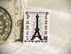 Magnet Cross Stitch Paris. Souvenirs on France by TimeForStitch