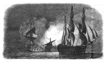 HMS Superb sails silently off the Spanish fleet at Algeciras Bay, while the Hermenegildo and Real Carlos explode in the background after mistakenly firing on one other. Drawing by Antoine Léon Morel-Fatio. Patrick O'brian, Master And Commander, Shipwreck, Royal Navy, Great Britain, Sailing, Drawings, Latin America, Georgian