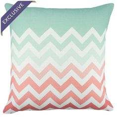 Pretty pillow with a coral and mint ombre chevron motif.