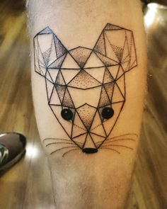 Designed by his sister. #tattoos #mouse #mousetattoo #geometric #geometrictattoo #dotwork #dotworktattoo #brisbane
