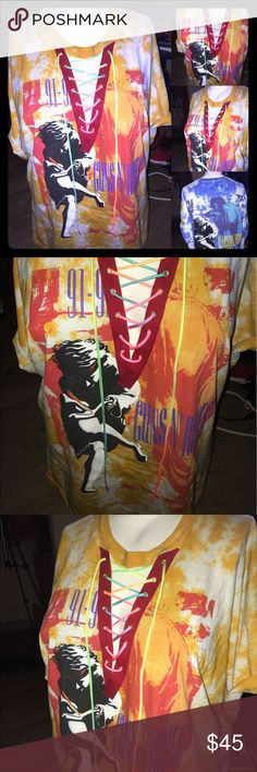 Guns N' Roses Lace Up custom shirt Custom bleached acid Guns N' Roses. Handmade on of a kind. Boyfriend oversized shirt  Tags: Yeezy, yeezus, baby yeezy, baby yeezus, band shirts, yeezy season 3, God wants you, Kylie lip kit, Kim kardashian, Guns N' Roses, Ramones, pantera, Slayer, the Beatles , kiss, Rolling Stones  Tags: Yeezy, yeezus, vlone, Kylie lip stick, supreme, bape, of white, rock band, Sony, apple, fear of god, FOG, vans Tops Tees - Short Sleeve