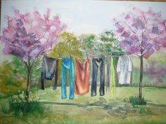 Spring Washing by Jessica Rose - Win vouchers worth from Winsor & Newton in our Calendar Challenge - February 2020 Jessica Rose, Galleries In London, I Love Cats, Printmaking, Competition, Palette, Challenges, Watercolor