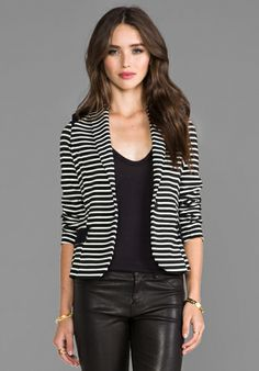 Colorblocked Blazer in Stripe & Black.