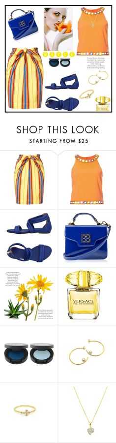 """Casually Perfect In A Striped Skirt"" by freida-adams ❤ liked on Polyvore featuring Moschino, Nannini, Handle and Versace"
