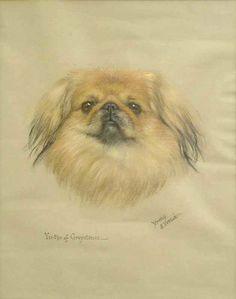 Pekingese by Dorothy S Hallett (fl 1913-1934)