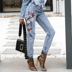 f6dc559bef92e Simplee Fashion floral embroidery jeans female Casual mom high waist jeans  pants Summer light blue long
