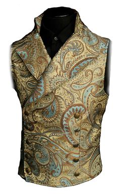 An elegant double breasted vest for formal occasions. A fitted vest made in rich gold and light blue paisley brocade fabric with a stand up to collar and wide sweeping lapels. The vest back and inside lining is made from rich black satin. Gothic Fashion Men, Indian Men Fashion, Fashion Goth, Wedding Dresses Men Indian, Wedding Dress Men, Suit Fashion, Mens Fashion, Fashion Outfits, Latex Fashion