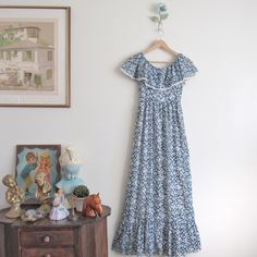 Vtg 70s Blue China Floral Prairie Gown • Boho Hippie Young Edwardian Tiered Maxi Dress - XS/S by loudmouthmarket on Etsy https://www.etsy.com/listing/464181670/vtg-70s-blue-china-floral-prairie-gown