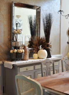 Dining Room Ideas:Wood Rustic Dining Table Grey Cabinet Beautiful and Cozy Fall Dining Room Decorating Ideas