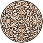 Chelsea Ivory/Brown 4 ft. x 4 ft. Round Area Rug, Ivory/Dark Brown