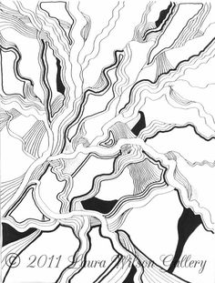 Black and White Abstract No.1 Original Pen by LauraWilsonGallery