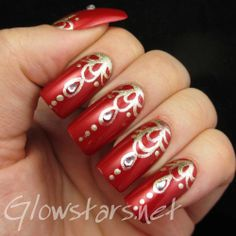 Fingerfood's Theme Buffet: Oriental - A manicure using Barry M Retro Red and China Glaze Midnight Kiss