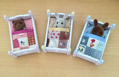 Set of 3 Handmade Baby Sleeping Bags to fit Sylvanian Families