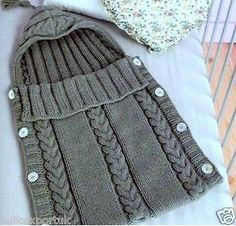 Knitting pattern baby sleeping bag aran cocoon bunting 0-3 months Nr.29