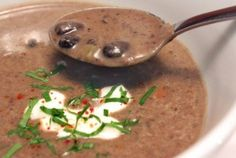 Spicy Black Bean Soup with Lime and Cilantro