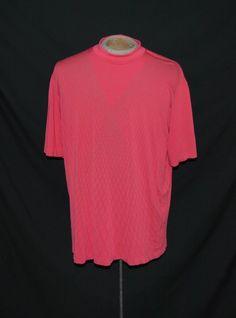 Tiger Woods Golf Shirt XL Pull Over Short Sleeve Pink Geometric 100% Polyester #TigerWoods #Henley
