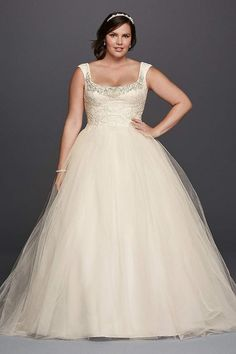 David's Bridal has beautiful plus size wedding dresses that come in a variety of sizes & full figured styles for an affordable price. Book an appointment today! Wedding Dresses Plus Size, Plus Size Wedding, Bridal Wedding Dresses, Designer Wedding Dresses, Trendy Wedding, Bridal Style, Lace Wedding, Wedding Ideas, Formal Wedding