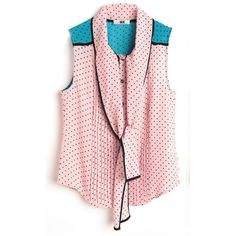 Pink Polka Pussy Bow Sleeveless Chiffon Pleated Blouse ($65) ❤ liked on Polyvore