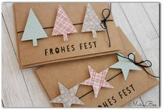 I have two really fast Christmas cards for you today: DP on … - Diy Christmas Gifts Christmas Cards To Make, Xmas Cards, Diy Cards, Christmas Time, Christmas Crafts, Christmas Decorations, Gold Christmas, Handmade Crafts, Diy And Crafts