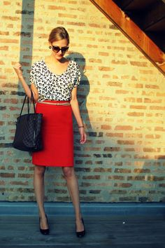 Work outfit (red skirt, tan belt, black & white print blouse)