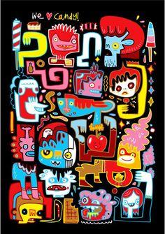 We Love Candy Art Print by Burgerplex Motos Harley Davidson, Urban Graffiti, Candy Art, Doodle Designs, Stickers, Art Journal Inspiration, Creature Design, Doodle Art, Amazing
