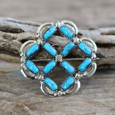 NATIVE AMERICAN STERLING SILVER & TURQUOISE PIN ZUNI