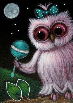 Art: PINK BABY OWL with MARACA TOY by Artist Cyra R. Cancel