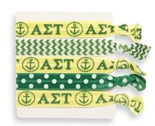 Alpha Sigma Tau Ribbon Hair Ties www.sassysorority.com
