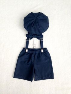 Baby Boy Outfit in Navy Natural Linen/Cotton Blend // including a Newsboy Cap, Bow tie, Shorts, and Suspenders Set  *4 WEEK TURNAROUND