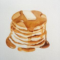 pancakes! almost ready! #pancakes #watercolor #foodart #foodpaintings #americanbreakfast #american by aureanogues