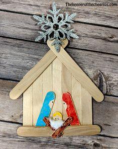 krippe weihnachten Craft Stick Nativity Scene and Manger Kunsthandwerk Christmas Crafts For Kids To Make, Craft Stick Crafts, Christmas Projects, Kids Christmas, Holiday Crafts, Craft Sticks, Natal Diy, Nativity Crafts, Church Crafts