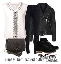 """Elena Gilbert inspired outfit/TVD"" by tvdsarahmichele ❤ liked on Polyvore featuring Topshop, Paige Denim, Veronica Beard, ASOS and Gucci"