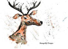 Ik maak al mijn stukken van mijn thuisstudio in West Yorkshire. Ik ben geïnspireerd door de natuur natuur en dieren. Ik heb een liefde voor het platteland en geniet van mijn eigen stempel zetten met veel dieren en creaties van de natuur.  HERTEN PRINT-DORIS  Doris Deer afdrukken. Deze prachtige hert zou prachtige blik in elk huis. Ze is een kleurrijke karakter en wil vermaken voor uren!  * Een print van een originele aquarel illustratie door me-Helen Broadhead.  * Formaten beschikbaar: A4…