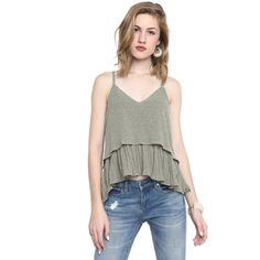 Amadi Emma Pleated Ruffle Cami Top ($88) ❤ liked on Polyvore featuring tops, olive, v-neck tank tops, bohemian tops, v-neck camisoles, boho tops and cami top