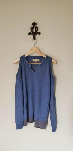 2d58bbdcd55 Details about Vintage Havana Blue Distressed Cold Shoulder Size Small  Sweatshirt Yoga Top
