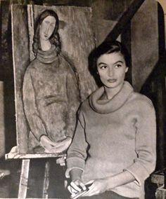 Anouk Aimée devant un tableau de Modigliani - 1957