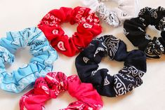 Add a bright, bold look to your outfit with this set of Bandana Print Hair Scrunchies | Hair Ties | Scrunchies are Back | Bandana Scrunchies | Hair Accessories | Cotton Print Scrunchies | Trendy