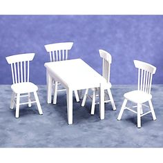 White Dining Dollhouse Miniature Set - T0519