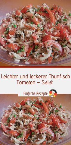 Light and tasty tuna - tomato - salad (ww-suitable Leichter und leckerer Thunfisch – Tomaten – Salat (ww-geeignet und fettarm, … Light and tasty tuna – tomato – lettuce (suitable for ww and low in fat, quick preparation) Sprainnews - Pasta Salad Recipes, Healthy Salad Recipes, Healthy Snacks, Easy Recipes, Dinner Recipes, Greek Recipes, Law Carb, Delicious Salmon Recipes, Recipe Tonight