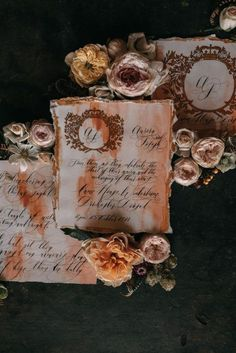 Classical-chic and elegantly custom designed, this beautiful deep caramel, burnt-orange watercolour background and gold crest design combines to create a fine art wedding stationery suite. Perfect for an Italian style small, intimate luxury wedding in the country at an English estate, or a botanical garden wedding. Black Wedding Invitations, Wedding Stationery, Watercolor Background, Watercolour, Country Wedding Inspiration, Private Estate Wedding, Countryside Wedding, Black Tie Wedding, Sophisticated Bride